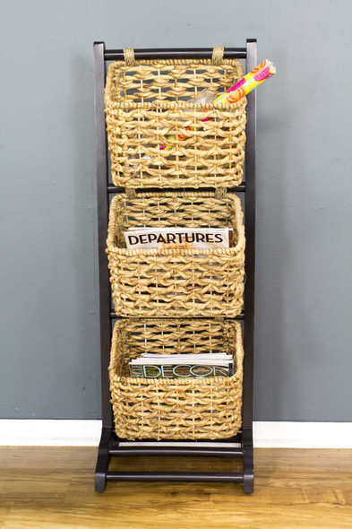 """42.25"""" Brown Wood, MDF, and Water Hyacinth Magazine Rack with 3 Baskets"""