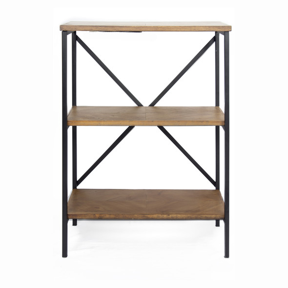 """30.25"""" Brown Metal, Wood, and MDF Bookcase with 3 Shelves"""