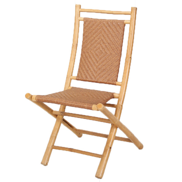 "36"" Natural/Tan Bamboo Folding Chair with a Diamond Weave"