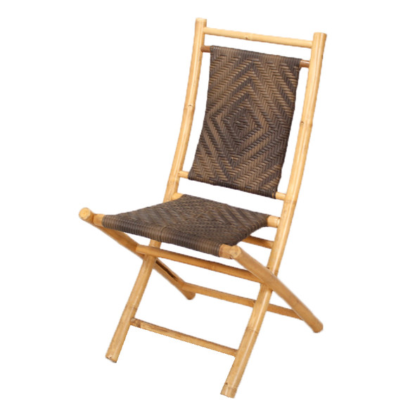 "36"" Natural and Brown Bamboo Folding Chair with a Diamond Weave"