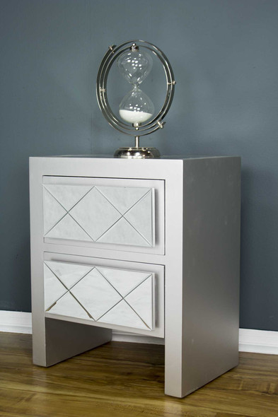 "23.6"" Silver Wood Accent Cabinet with 2 Drawers and Mirrored Glass"