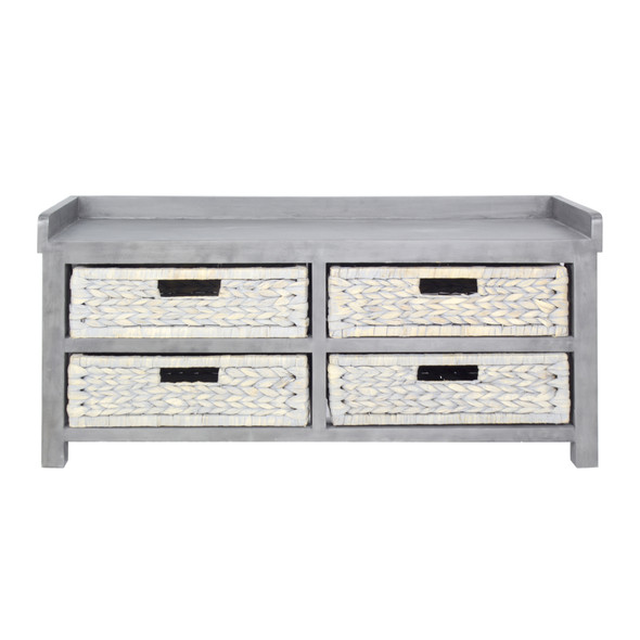 """39.75"""" Grey MDF and Water Hyacinth Storage Bench with 4 Baskets"""