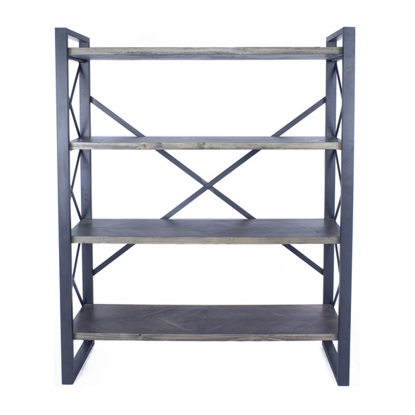 """39.75"""" Grey Metal, Wood, and MDF Bookcase with 4 Shelves"""