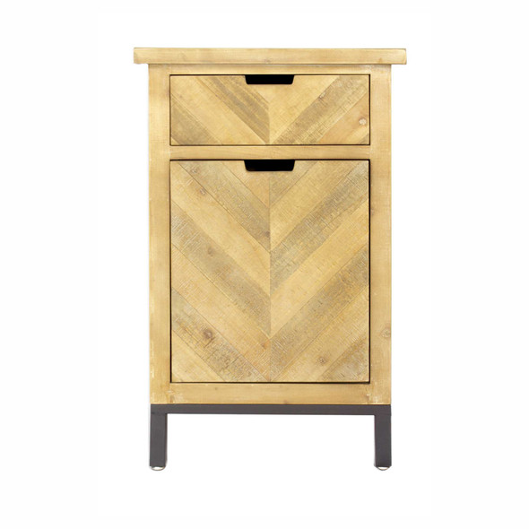 """31.5"""" Grey Iron, Wood, and MDF Accent Cabinet with a Drawer and a Door"""