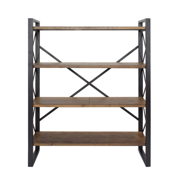 """39.75"""" Black Metal, Wood, and MDF Bookcase with 4 Shelves"""