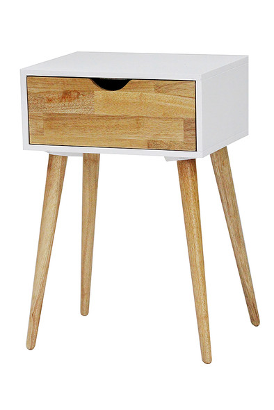 "24"" White End Table with 1 Drawer"