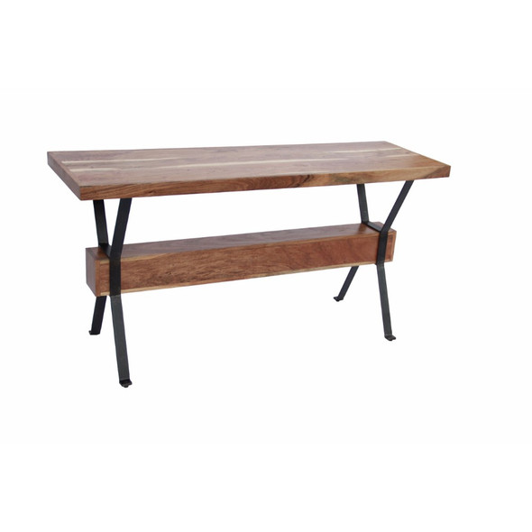 Elegant Wood amp; Iron Console Table, Brown