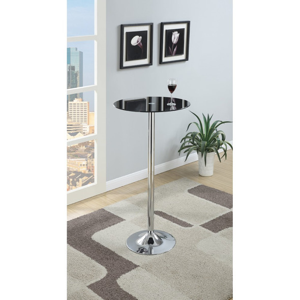 Metal Base Bar Table With Round Glass Top, Black amp; Silver