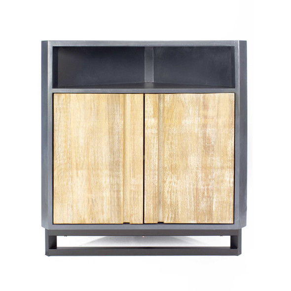 """32"""" Grey MDF, Wood, and Mirrored Glass Corner Cabinet with 2 Doors and a Shelf"""