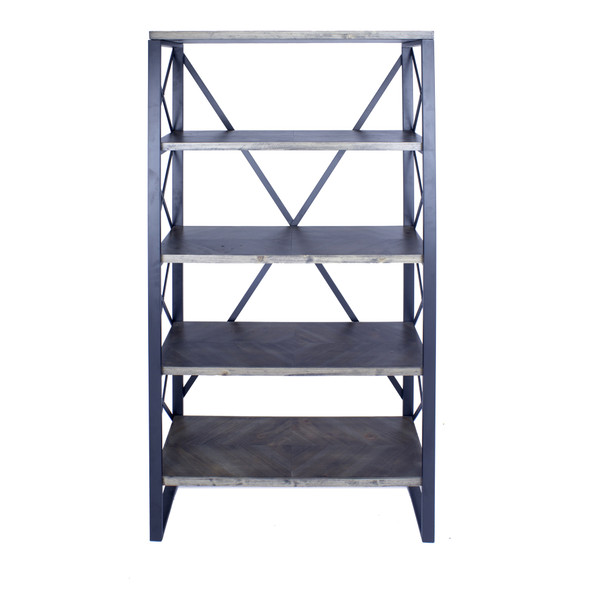 """32.75"""" Natural and Grey Metal, Wood, and MDF Bookcase with 5 Shelves"""