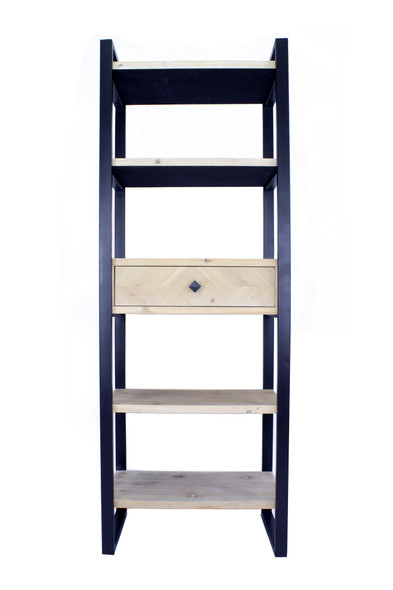 """67.25"""" Natural, Brown Metal, Wood, and MDF Bookcase with a Drawer and 5 Shelves"""