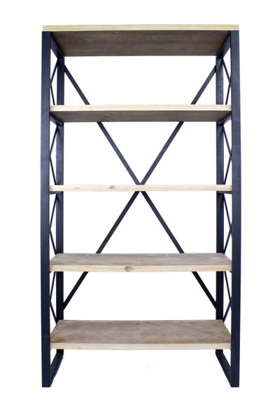 """32.75"""" Natural and Brown Metal, Wood, and MDF Bookcase with 5 Shelves"""