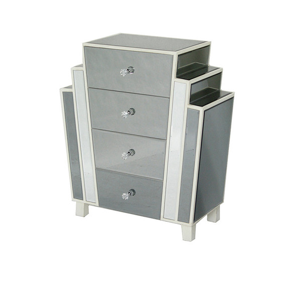 """32"""" Natural MDF, Wood, and Mirrored Glass Accent Cabinet with 4 Drawers - 328706"""