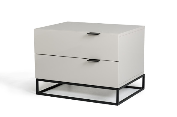 "16"" Grey MDF and Metal Nightstand"