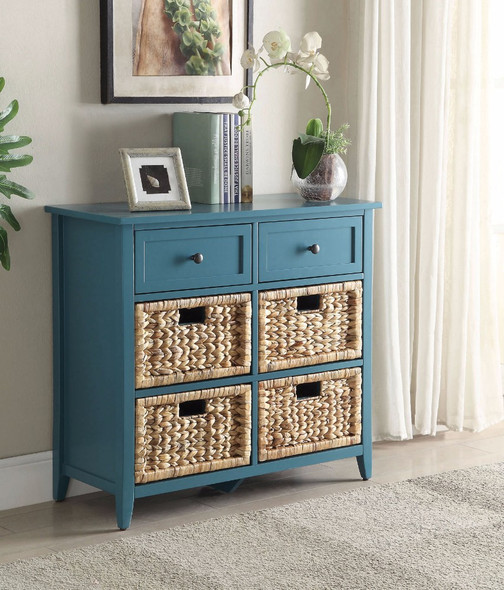 Console Table With 6 Drawers, Blue