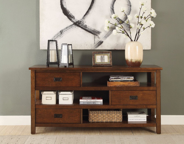 Solid Wood Console Table, Walnut Brown
