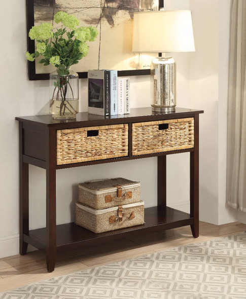Console Table with 2 Drawers, Espresso Brwon