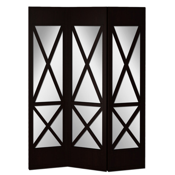 Contemporary 3 Panel Screen with Wood Frame amp; Cross Design, Black