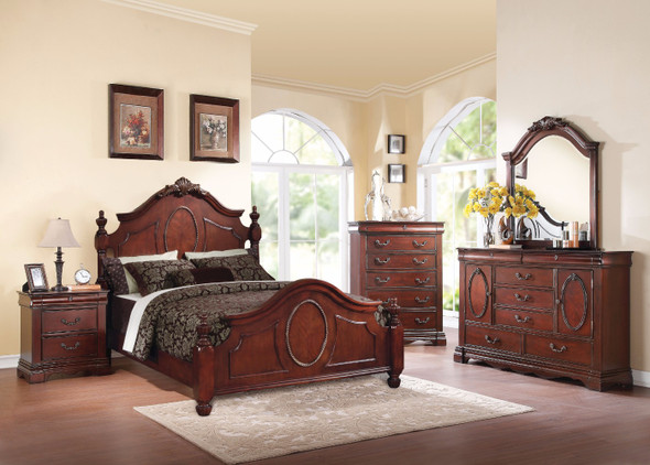 Traditional Elegant Style Queen Size Poster Bed, Dark Brown