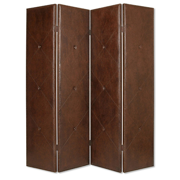 Wooden 4 Panel Screen with Nailhead Trims and Button Tufting, Brown