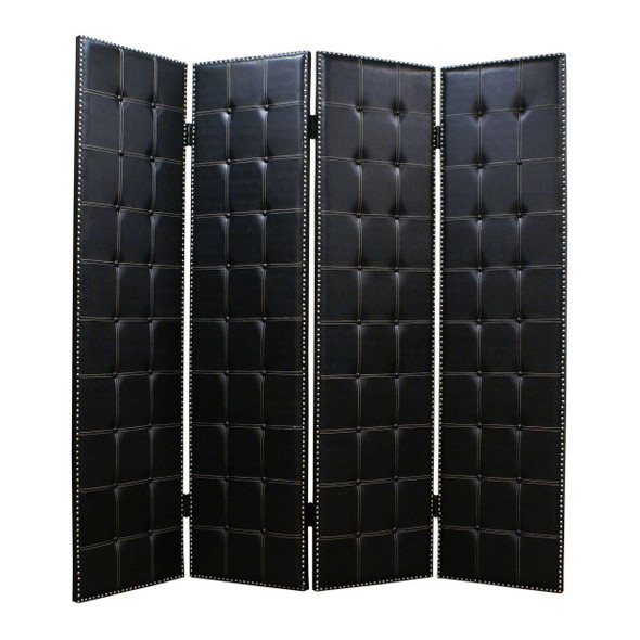 Wooden 4 Panel Screen with Button Tufting and Nailhead Trims, Black