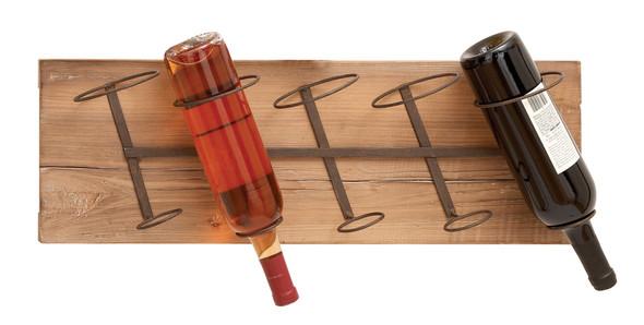 Wall Wood Metal Wine Rack