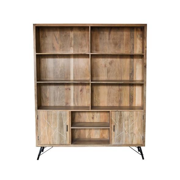"""17"""" X 68"""" X 82"""" Natural Tones Iron Wood Large Bookshelf"""