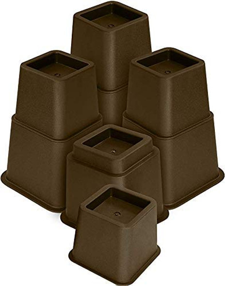 """3"""" , 5"""" or 8"""" Brown, Adjustable Bed Furniture Legs, Heavy Duty Plastic - Bed Risers Set of 4"""