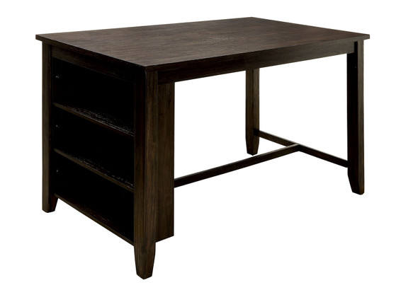 Wood Counter Height Table With Shelves, Dark Walnut Brown