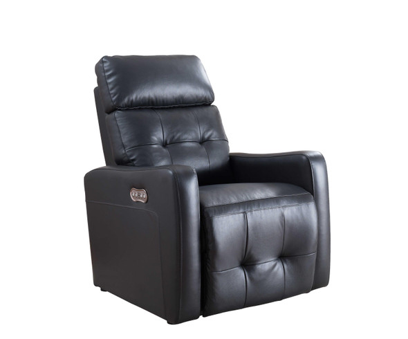 Black Contemporary Leather Upholstered Living Room Electric Recliner Power Chair