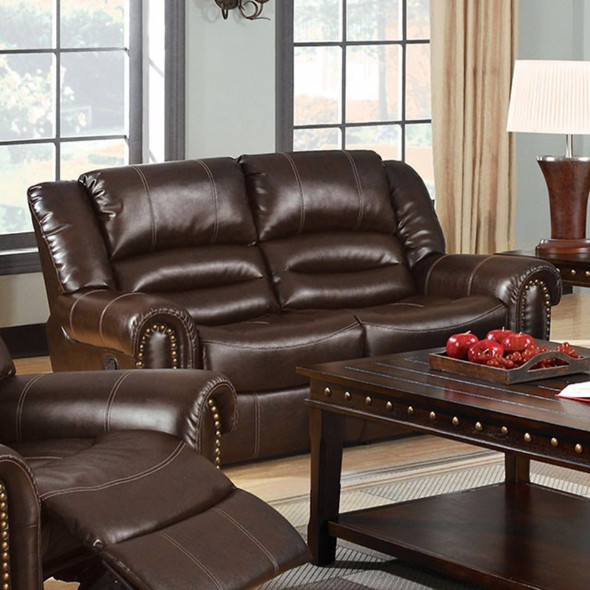 Bonded Loveseat Recliner With 2 Recliners, Dark Brown