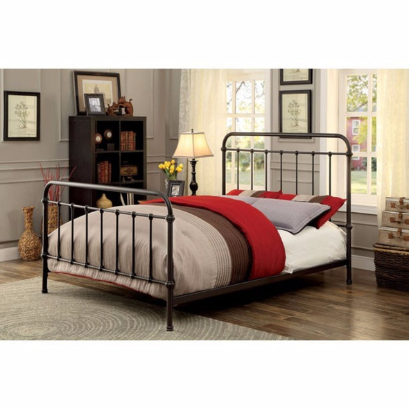 Metal Twin Size Platform Bed with Headboard amp; Footboard, Deep Bronze