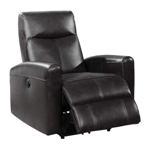 Black Contemporary Leather Upholstered Electric Recliner Power Chair