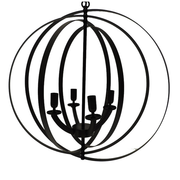 4Light Modern Sphere/Orb Chandelier With Interlocking Rings, Black