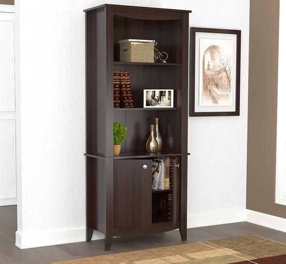 "70.9"" Classic Espresso Melamine and Engineered Wood Bookcase"