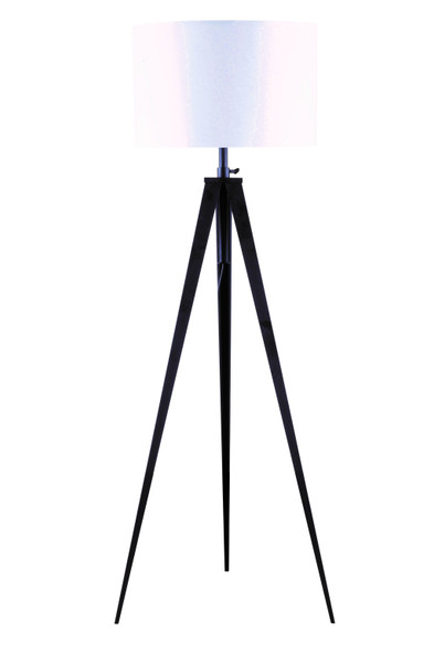 "1"" X 1"" X 59~73"" White Black Metal Shade Floor Lamp"