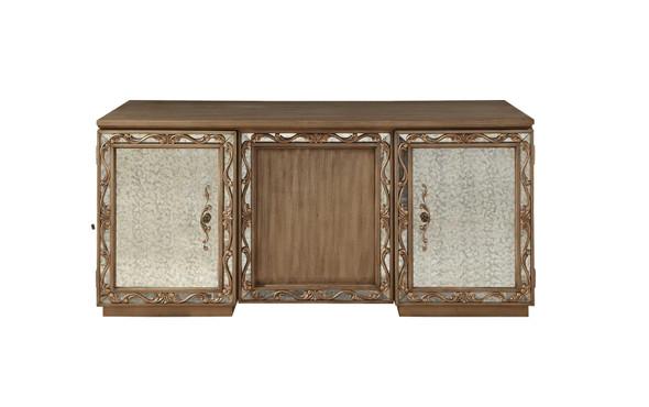 "32"" X 66"" X 30"" Antique Gold Wood Glass Mirror Executive Desk"
