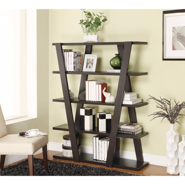 Exceptional Bookcase with Inverted Supports and Open Shelves, Brown