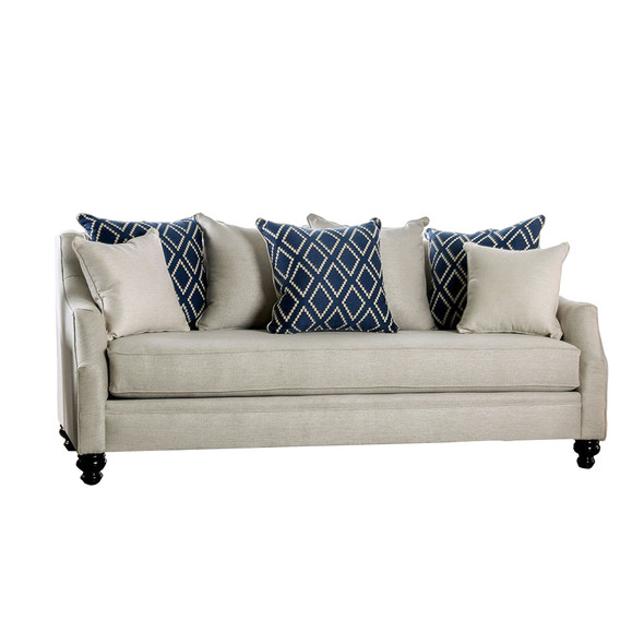 Fabric Upholstered Wooden Sofa with Tufted Details, White