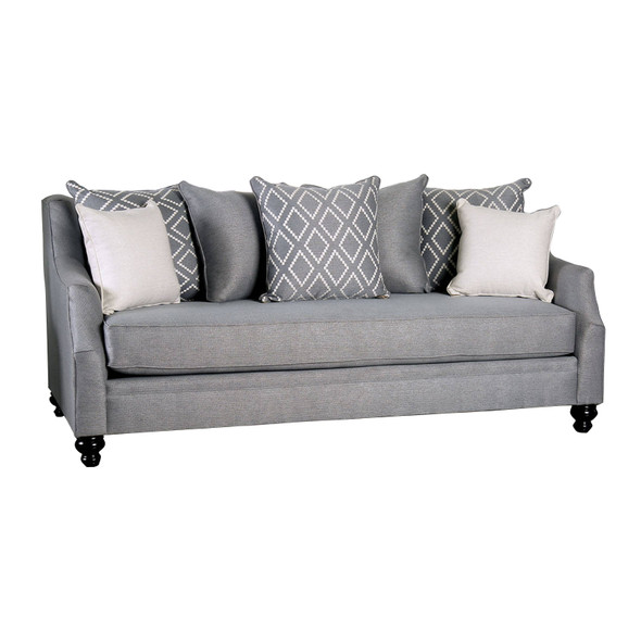 Fabric Upholstered Wooden Sofa with Tufted Details, Gray