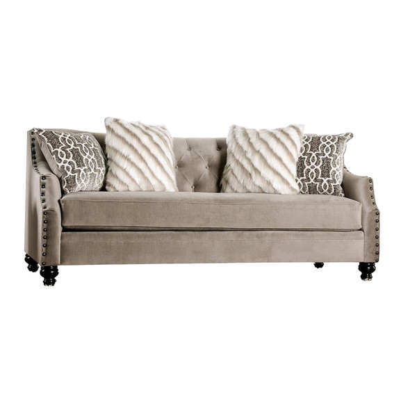 Fabric Upholstered Wooden Sofa with Tufted Details, Gray and Beige