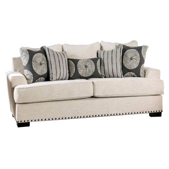 Fabric Upholstered Wooden Sofa with Nail head Trim Details, Cream