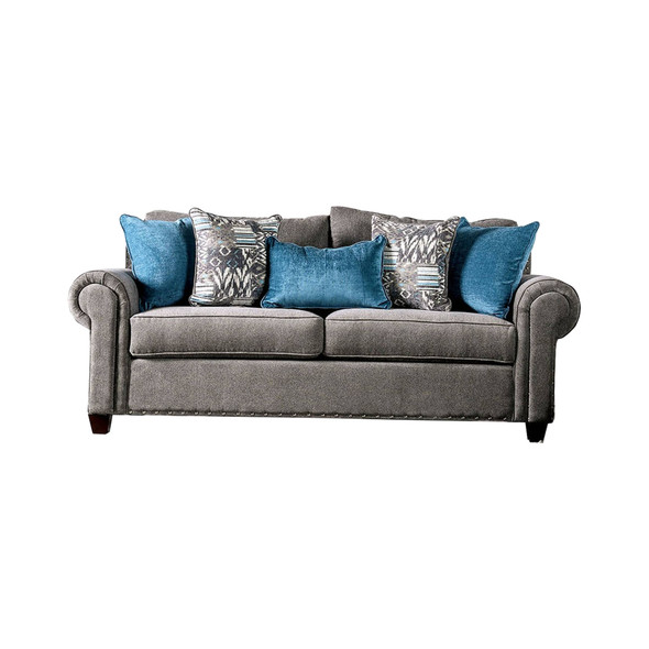 Fabric Upholstered Wooden Sofa with Nailhead Trim Accents, Gray