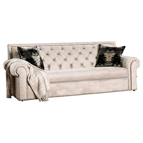 Fabric Upholstered Wooden Sofa with Button Tufted Back, Beige