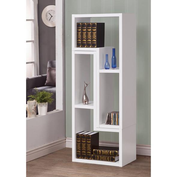 Hollow-Core TV Console and Bookcase Combination, White