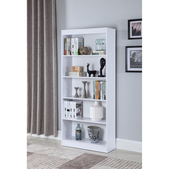 Classic Wooden Bookcase With 5 Shelves, White