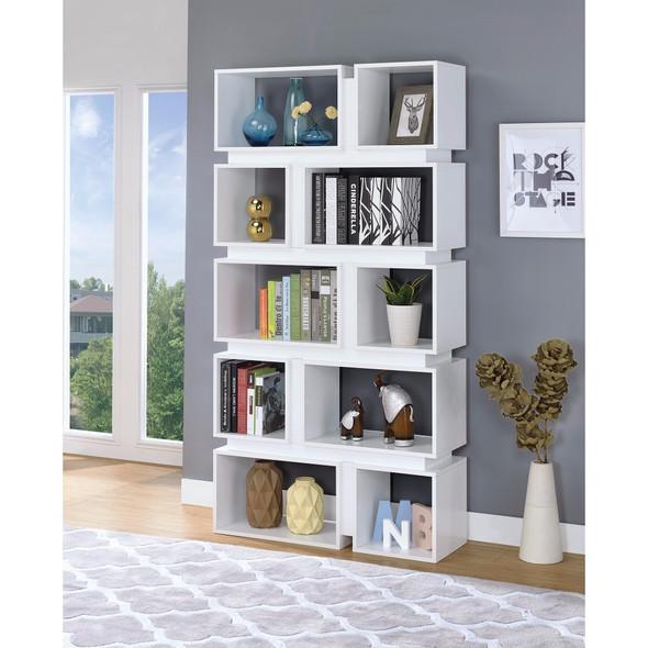 Classic Geometrically Designed Wooden Bookcase, White