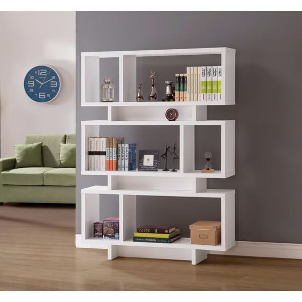 Geometrically Designed Reversible Bookcase, White