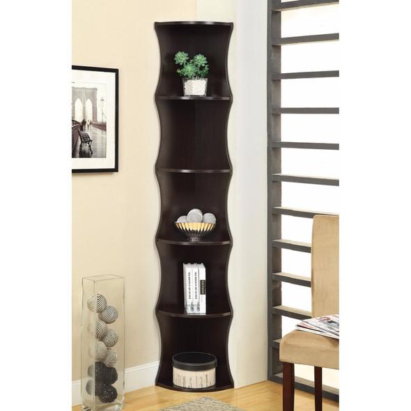 Corner Shelf Wooden Bookcase, Brown