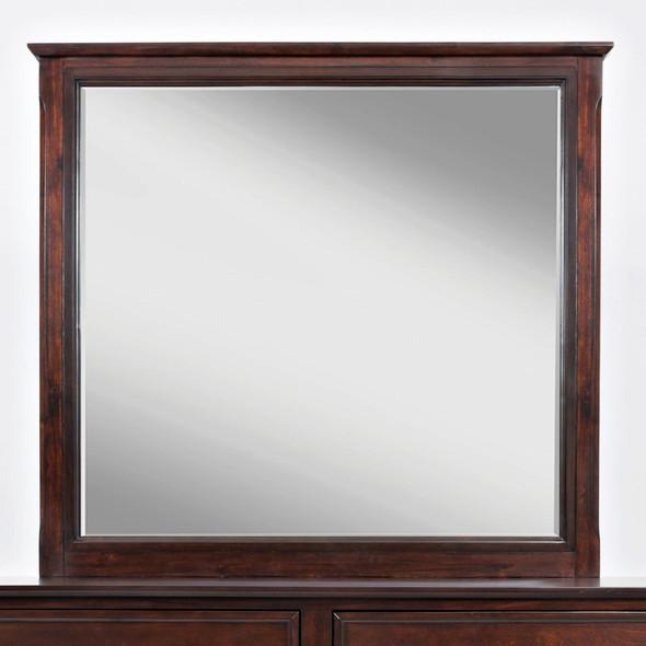 Contemporary Style Wooden Framed Mirror, Birch Cherry Brown